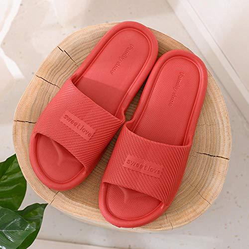 JaMsnc Sandalias de baño de secado rápido para hombre, zapatillas antideslizantes para el hogar, par de baño, sandalias y zapatillas-rojo_40-41, diapositivas de piscina de playa antideslizantes,