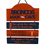 FOCO NFL Denver Broncos Team Logo Mancave Man Cave Hanging Wall Sign, Team Color, One Size