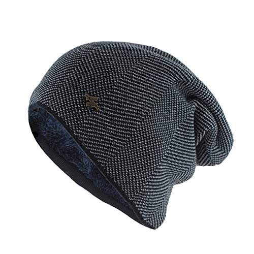 Uniqueheart Sombreros de Punto elásticos para Hombres y Mujeres más Orejeras de Terciopelo a Prueba de Viento Gorros de Lana cálidos Gorros de Jersey neutros - Negro
