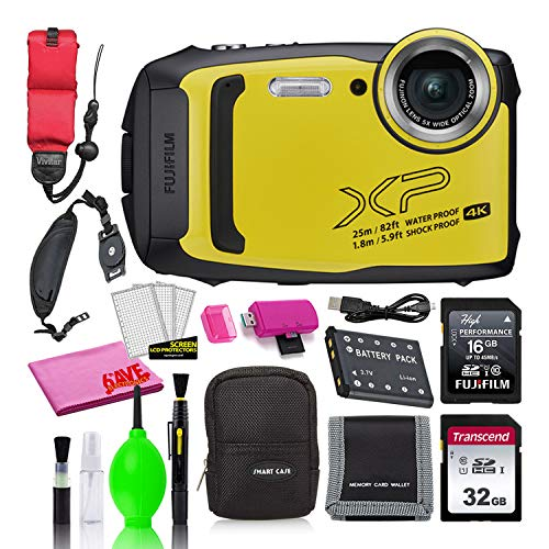 Fujifilm FinePix XP140 Waterproof Digital Camera (Yellow) Accessory Bundle with 48GB SD Card + Small Camera Case + Floating Wrist Strap + Deluxe Cleaning Kit + More