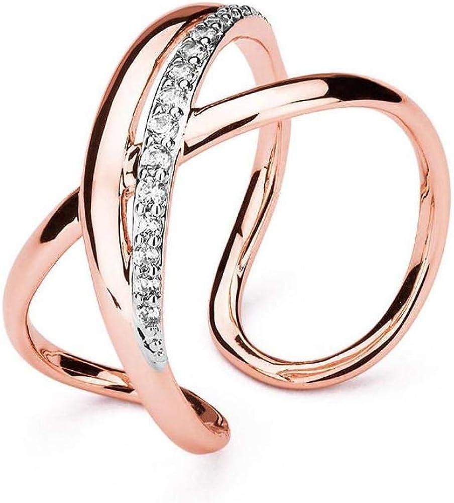 Brosway ribbon trendy anello per donna  in ottone rodio e galvanica oro rosa con pavè di zirconi 8058773505965