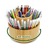 Bamboo Pen Holder Organizer, Rotating Art Supply Organizer, Round Pencil Organizer for Desk with Removable Divider, Office Supplies Desktop Storage Box