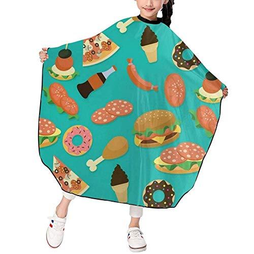 Capa de corte de pelo para niños Hamburger Donut Coke, capa de corte de pelo impermeable para niños y niñas, delantal de corte de pelo de peluquero para niños, duradero, 39 x 47 pulgadas