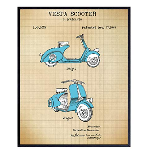 Vespa Scooter Patent Art Prints - Vintage Wall Art Poster Set - Chic Rustic Home Decor for Living Room, Bathroom, Bedroom, Kitchen - Gift for Motor Bike, Motorbike Fans - 8x10 Photo Unframed
