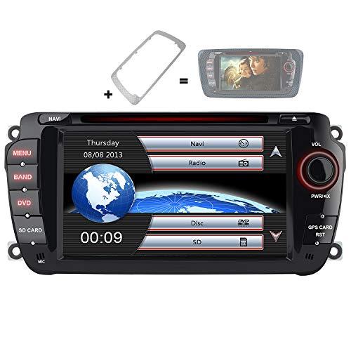 AWESAFE Radio Coche 7 Pulgadas con Pantalla Táctil 2 DIN para VW Seat Ibiza 2009–2013, Autoradio con Bluetooth/GPS/FM/RDS/CD DVD/USB/SD, Apoyo Mandos Volante, Mirrorlink y Aparcacimiento