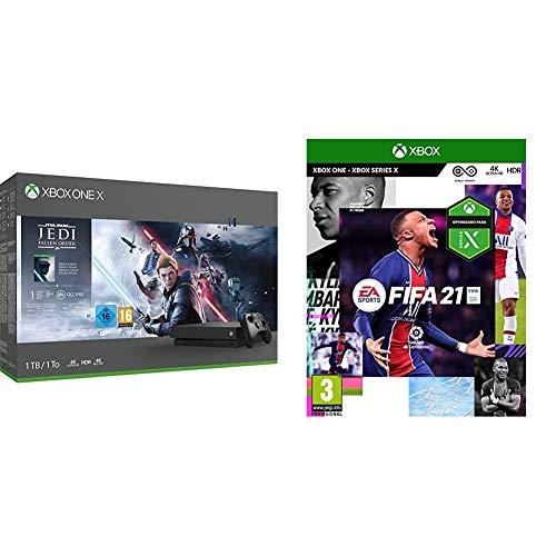 Microsoft Xbox One X - Consola 1 TB, Mando Inalámbrico, Star Wars Jedi: Fallen Order + FIFA 21 Edición Estándar