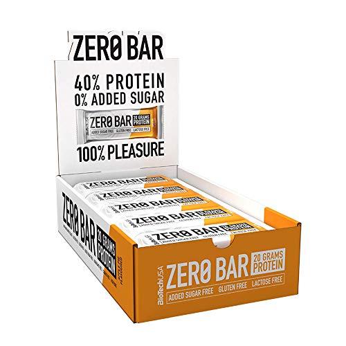 BioTechUSA Zero Bar Barrita de proteínas con alto contenido proteico, sin azúcar añadido o aspartamo, libre de lactosa y gluten, con edulcorantes, 20 * 50 g, Apple Pie