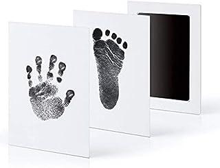 VANANA Pack of 2 Keepsake Footprint Handprint Shower Foot Print Hands Print Black Ink Pad Inkless Paper Card DIY Tool Memo...