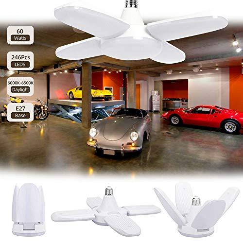Viugreum LED Garagenleuchten mit 4 Verstellbaren Paneelen,E27 60W, 6500K, 6000LM,LED Deckenleuchte für Garage, Lager, Werkstatt, Keller, Turnhalle