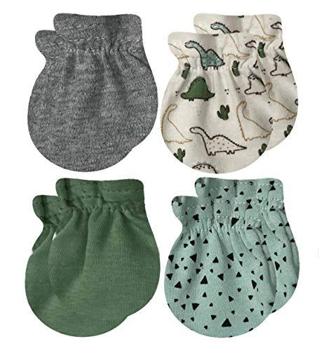 MODERN BABY Newborn Mittens For Baby Girls & Baby Boys 4 Pack 0-3 Months Infant No Scratch Mitten Gloves 100% Cotton