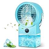 Aire Acondicionado Portatil, Enfriador de Aire Portátil 500ML, Mini Aire Acondicionador con 3 Velocidades,Temporizador 2/4H,7 Colores, Ruido Bajo, para Habitación Infantil / Dormitorio / Oficina