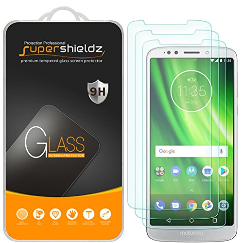 (3 Pack) Supershieldz Designed for Motorola (Moto G6 Play) and Moto G Play (6th Gen) Tempered Glass Screen Protector, Anti Scratch, Bubble Free