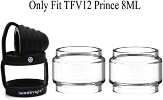 CENGLORY TFV12 Prince Bulb Glass Rings Silicone Anti Slip Band with Attached Drip Tip Cover Clear Tube (1PCS Black Band+2PCS Clear Tube)