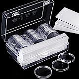 Hicarer 46 mm Münz Kapseln und 8 Größen (17/ 20,5/ 25/ 27/ 30/ 32/ 40/ 46 mm) Protect Dichtung Münzhalter mit Kunststoff Aufbewahrungsbox für Münz...