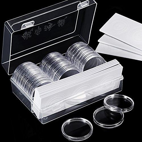 Hicarer 30 Piezas 46 mm Cápsulas de Monedas y 30 Piezas Junta Protectora Caja Funda de Moneda con Caja Organizador de Almacenaje de Plástico para Materiales de Collección de Monedas (Tamaño A)