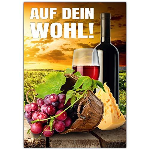 A4 XXL Glückwunschkarte AUF DEIN WOHL! mit Umschlag - edle Klappkarte für alle Anlässe wie Geburtstag Hochzeit Erfolg Jubiläum Karte von BREITENWERK