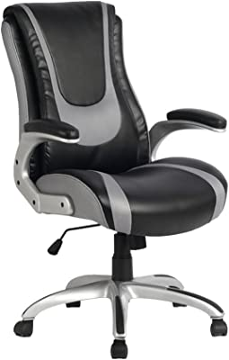 VIVA OFFICE High Back Bonded Leather Racing Style Office Swivel Chair, Black and Light Grey