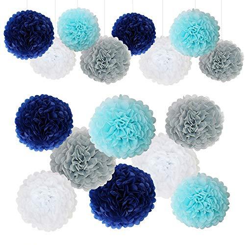 Navy Blue White Grey Wedding Decorations Tissue Paper Flowers Pom Poms Balls for Bridal Shower Bachelorette Baby Girl Boy Theme Birthday Party Supplies Set (Navy Blue, Grey, Light Blue,White)