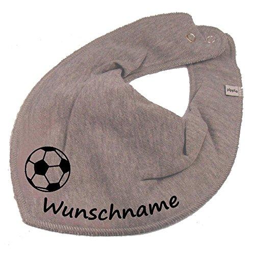 Elefantasie Elefantasie HALSTUCH Fußball mit Namen oder Text personalisiert grau für Baby oder Kind