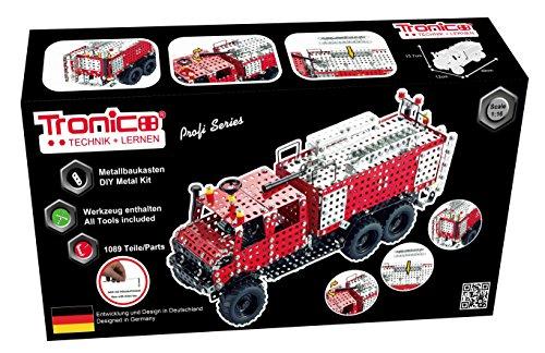 TRONICO Metallbaukasten Feuerwehr Unimog LKW Konstruktionsspielzeug - Mint - STEAM - Modellbau - Bauen mit Werkzeug