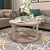 Round Coffee Table with Dusty Wax Coating, Rustic Wood Coffee Table for Living Room Home, White Wash, 35.4Inchs