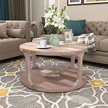 Round Coffee Table with Dusty Wax Coating Rustic Wood Coffee Table for Living Room Home White Wash 35.4Inchs