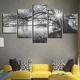 Gxucoa Cuadros Modernos Impresión De Imagen Artística Digitalizada, 5 Piezas Lienzo Decorativo para Tu Salón O Dormitorio Río Río 5 Piezas