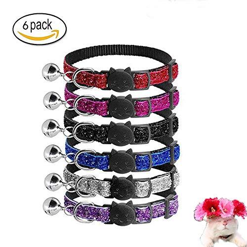 Aidiyapet Reflektierendes Katzenhalsband mit Glocke, 6er Set, Robust, Nylon, Coole Halsbänder für Hauskatzen, kleine Hunde