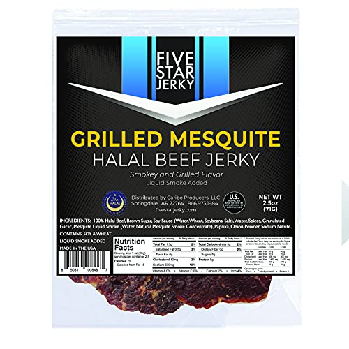 Five Star Jerky | HALAL Grilled Mesquite | High Protein Jerky Snack | Made in the USA - 2.5 oz