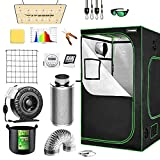 VIVOSUN Grow Tent Complete Kit, 48'x48'x80' Growing Tent with VS1000 Led Grow Light 6 Inch 440CFM Inline Fan Carbon Filter and 8ft Ducting Combo