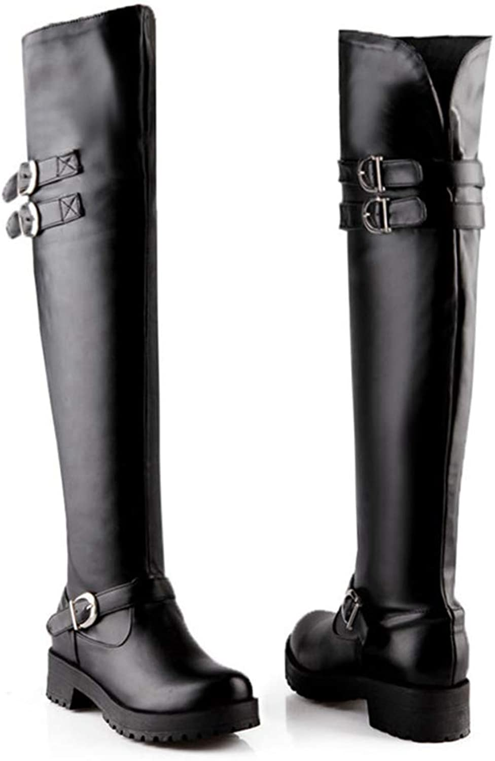 Over The Knee Boots Woman Fashion Punk Med Heels Pu Soft Leather shoes