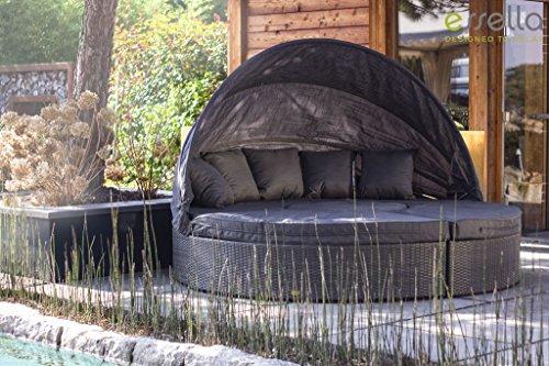 essella Polyrattan Sonneninsel Honolulu in Grau Flachgeflecht - wetterfeste Premium Gartenmuschel für Garten, Terrasse und Balkon - Abklappbares Sonnensegel - Waschbare Bezüge - 4qm Liegefläche - 220cm Durchmesser
