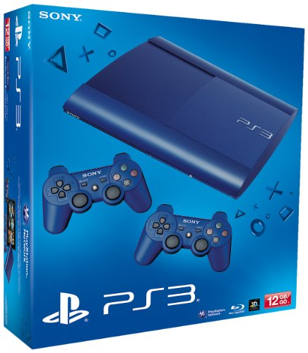 PS3 - Konsole Slim 12GB Azurite Blue  (SuperSlim) inkl. 2 Dualshock-Controller Blue