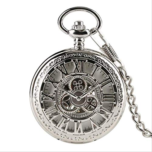 KUANDARGG Reloj de bolsillo con esfera de números romanos y esfera de esqueleto con cadena de 30 cm, color plateado