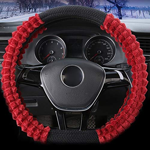 Winter Pluche D Type Steering Wheel Cover Cute Vrouwen Grip Cover 38cm Steering Wheel Protector Cover (Color : Red, Size : 38 Cm)