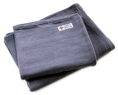 TEMPELWELT Yogadecke Blanket grau 200 x 155 cm groß aus 100% Baumwolle umsäumt, Decke für Yoga und Meditation