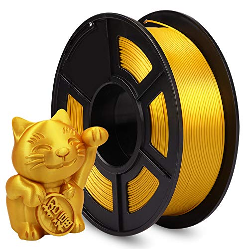 AnKun Silk PLA 3D Printer Filament 1.75mm 1kg (2.2lbs), Dimensional Accuracy +/- 0.02 mm, Gold 3D Printing Filament Spool Widely Compatible for FDM 3D Printers