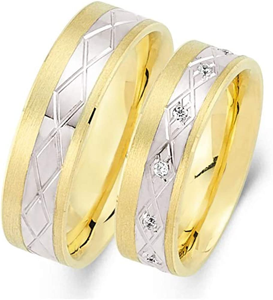 Anelise 14K Easy-to-use Soldering Real Solid Yellow White Band Gold 1054 Fine Wedding