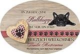 Creativ Deluxe Türschilder aus Schiefer auch mit Wunschname Herzlich Willkommen   Bulldogge   Relax Haustürschild mit Namen, mit Löchern zum Aufhängen