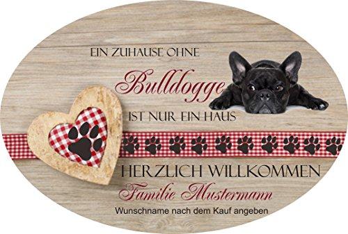 Creativ Deluxe Türschilder aus Schiefer auch mit Wunschname Herzlich Willkommen - Bulldogge - Relax Haustürschild mit Namen, mit Löchern zum Aufhängen
