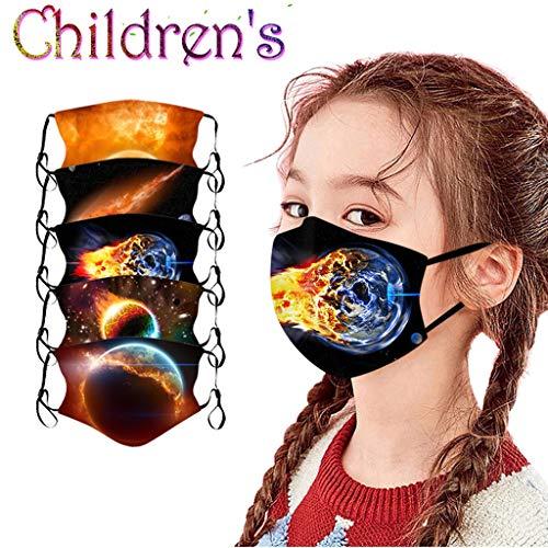 Yowablo 5~10PCS Kinder 𝗚𝗲𝘀𝗶𝗰𝗵𝘁 𝗕𝗮𝗻𝗱𝗮𝗻𝗮𝘀 Gedrucktes 𝗠𝘂𝗻𝗱𝘀𝗰𝗵𝘂𝘁𝘇 𝗔𝘁𝗺𝘂𝗻𝗴𝘀𝗮𝗸𝘁𝗶𝘃 Waschbar für Jungen und Mädchen für Halloween Weihnachten (5PCS,1T)