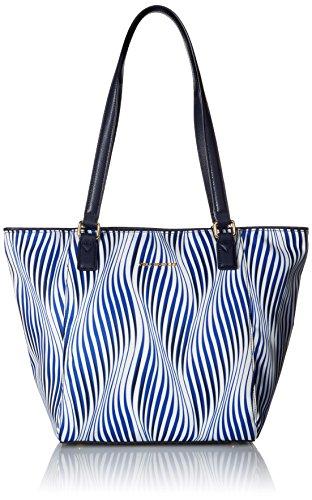 Vera Bradley Women's Faux Leather Small Ella Tote Bag, Wavy Stripe Navy