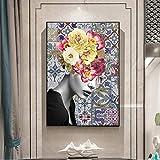 wojinbao Kein Rahmen Abstrakte Pfingstrosenblume Mädchen Leinwand Wohnzimmer Dekoration Malerei