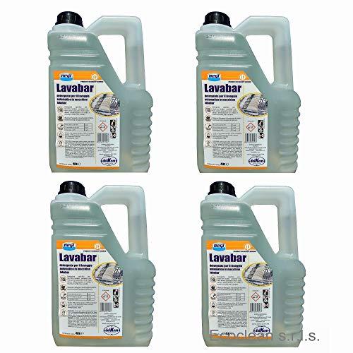 LAVABAR Detersivo professionale concentrato liquido lavastoviglie, Lavabicchieri, Lavatazzine bar - 4 taniche da 4 litri conforme haccp