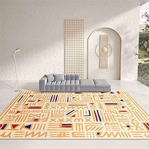 Alfombra Lavable Lavadora Alfombra Juvenil Dormitorio Diseño gráfico geométrico Simple Azul Rojo Azul Anaranjado Alfombra Antideslizante 80X120cm