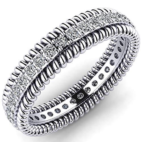 Excelente anillo de plata 925 con piedras de circonita brillante á 1.5mm - Anillo de eternidad como regalo para mujer - Anillo de bodas o anillo de compromiso - Anillo con piedras de Swarovski