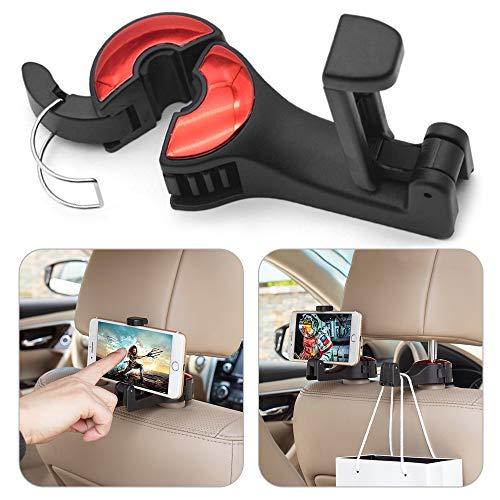 Warxin Auto Kopfstützen Haken 2 Stück, KFZ Kopfstützenhaken für Autositz mit Handy halterung Universal Rücksitz Kopfstützenhalterung Lagerung Haken - Handtasche Halter (Einstellbarer Durchmesser)