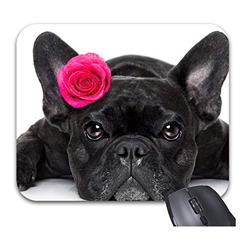 Mousepad Dogs Roses French Bulldog Mouse Pads Stylish Office Accessories Mousepad with Stitched Edges Computer Mouse Pad Single-Sided Printing