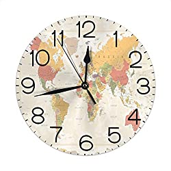 Dujiea World Map Round Wall Clock Silent Non Ticking Battery Operated 9.5 Inch for Student Office School Home Decorative Clock Art