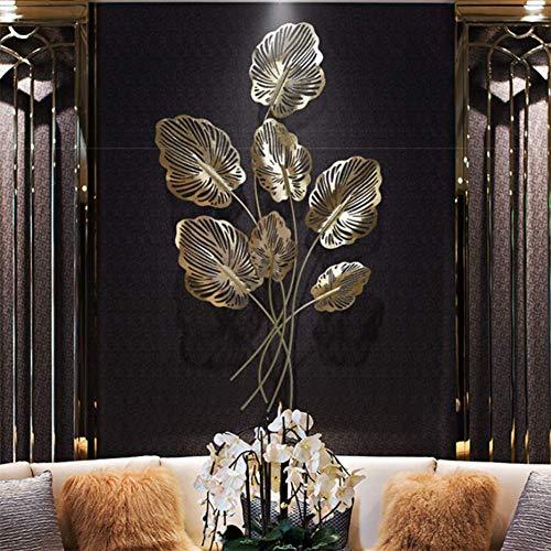 BONAH Diseño Creativo 3D Arte De Pared De Metal Calado Decorativo Hojas Esculturas De Arte para Colgar En La Pared Hierro Forjado para Decoración del Hogar 120x66cm / 47x26inch